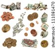Collection of American money, isolated on white background.  Includes coins and notes. - stock photo