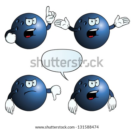 Collection of angry bowling balls with various gestures. - stock photo