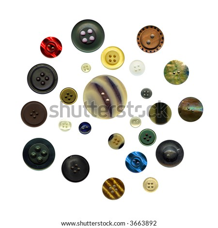 Collection of antique buttons - stock photo