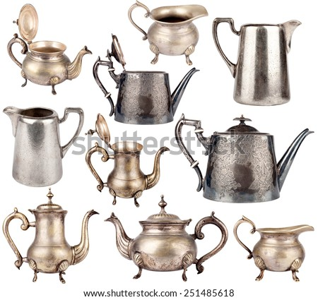 Collection of antique teapots isolated on white background  - stock photo