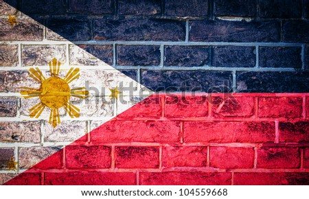 Collection of Asian flag on old brick wall texture background, Philippines - stock photo
