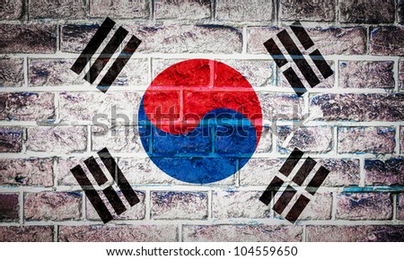Collection of Asian flag on old brick wall texture background, south korea - stock photo