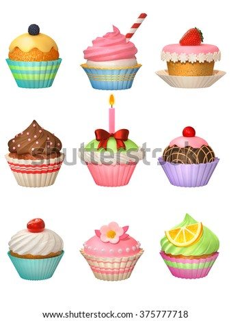 Collection of assorted cupcakes