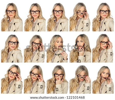 collection of attractive beauty portrait of woman with glasses , full resolution single images available separately in my gallery - stock photo