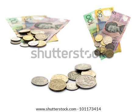 Collection of Australian Currency notes and coins isolated on white background