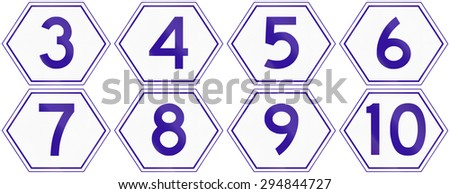 Collection of Australian Metroad Route Markers from number 3 to 10, used in Brisbane, Queensland.