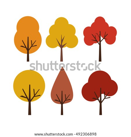 Collection Of Autumn Trees, Isolated On White Background. Simple collection of autumn trees of different shapes. Fall season.