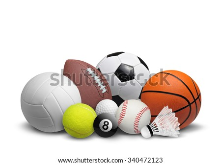 Collection of balls isolated on white background