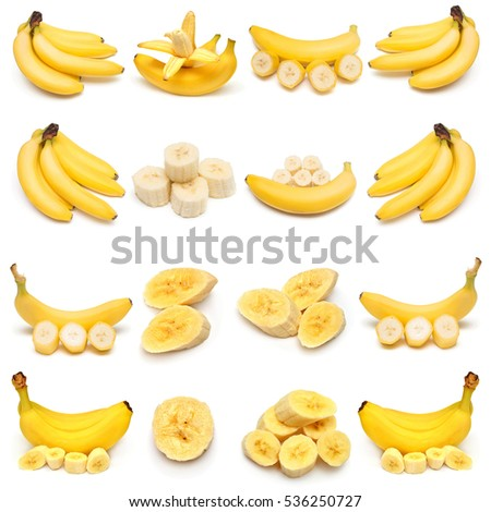 Collection of bananas isolated on white background. Flat lay, top view