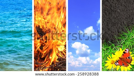 Collection of banner with nature elements - water; ground; air and fire - stock photo