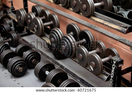 Collection of barbells lying in a sports center