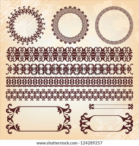 collection of baroque pattern elements