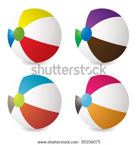 collection of beach balls with modern colours and shadow