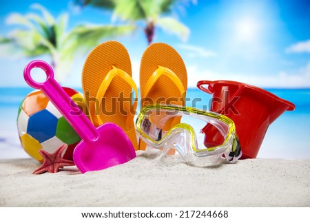 Collection of beach toys accessories  - stock photo