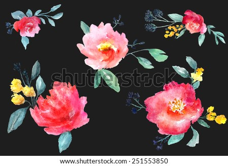 Collection of beautiful hand-drawn watercolor flowers isolated on black background, raster illustration - stock photo