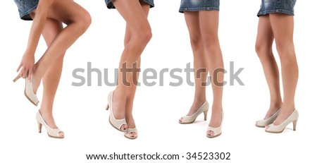 collection of beautiful slim woman legs with shoes isolated on white