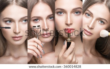 Collection of Beautiful young girl with a light natural make-up and beauty tools in hand. Picture taken in the studio on a white background. - stock photo