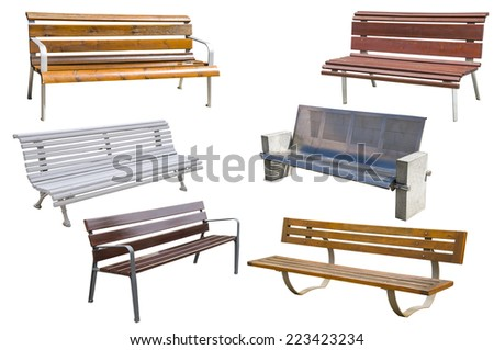 Collection of benches. - stock photo