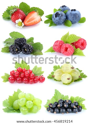 Collection of berries fruits grapes strawberries blueberries red currant berry isolated on a white background