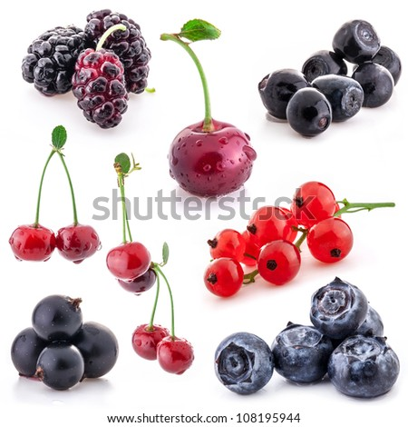 Collection of berry isolated on white background - stock photo