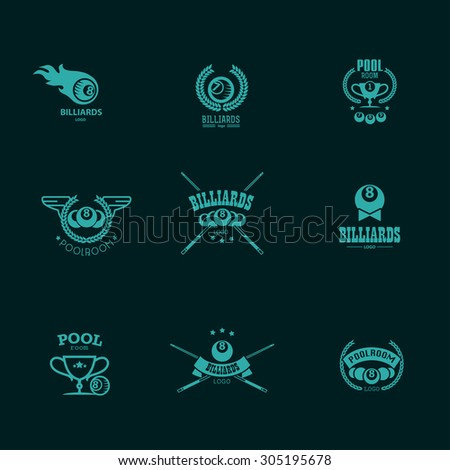Collection of billiard logo. Poolroom icons set with cues, balls, ribbons, laurel wreath, stars. Sport label design, competition banner template. - stock photo