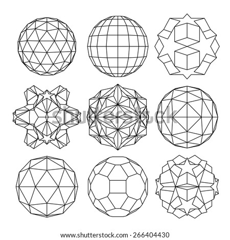 Collection of 9 black and white complex dimensional spheres and abstract geometric figures. Set of fractal 3D monochrome symbolic objects. - stock photo