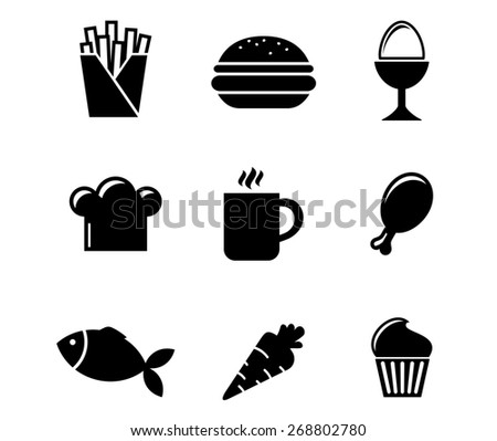 Collection of black and white silhouette food icons including French fries, boiled egg, toque, cookie, coffee, drumstick, fish, carrot and cupcake - stock photo