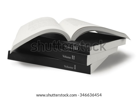 Collection of Black Cover Books on White Background - stock photo