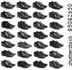 Collection of black male shoes over white - stock photo