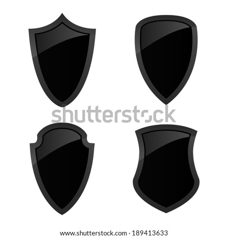 collection of black shining shields