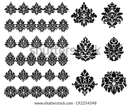 Collection of black silhouetted floral and foliate design elements as arabesques. Vector version also available in gallery - stock photo