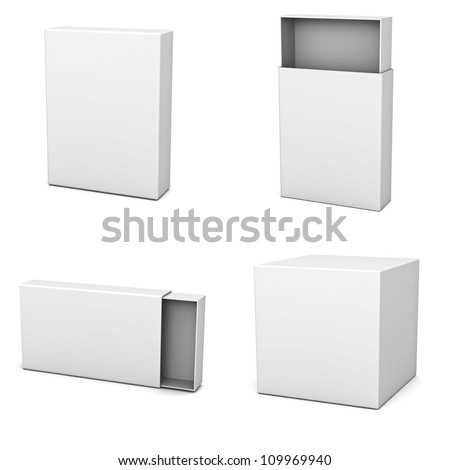 Collection of blank boxes isolated on white background - stock photo