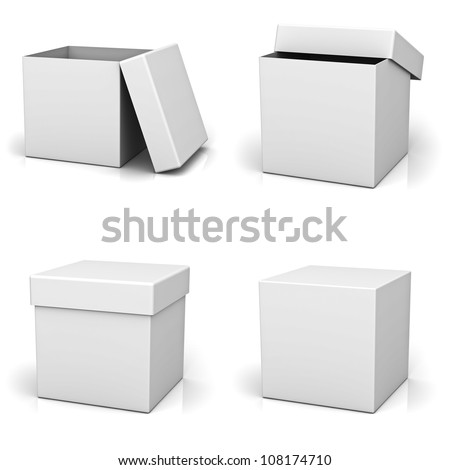 Collection of blank boxes on white background with reflection - stock photo