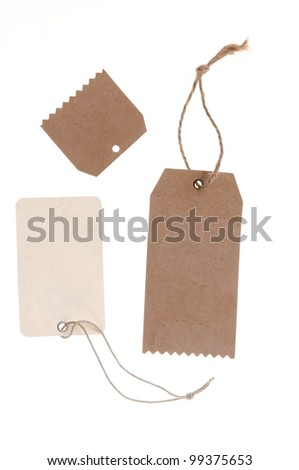 collection of blank cardboard paper labels isolated on the white background