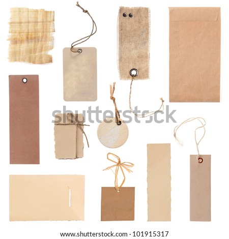 collection of blank cardboard paper labels or tag isolated on the white background