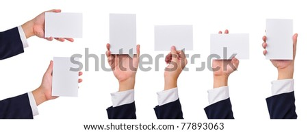 Collection of blank cards in business man's hands isolated on white. - stock photo