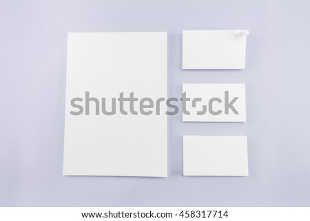Collection of Blank catalog, magazine, book template and business card with soft shadows. Ready for your design.