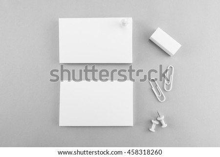 Collection of Blank catalog, magazine, book template and business card with soft shadows. Ready for your design. - stock photo