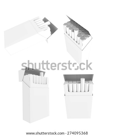 Collection of blank cigarette pack. Isolated on white background - stock photo