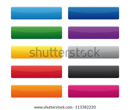 Collection of blank rectangular buttons in various colors. Vector available. - stock photo