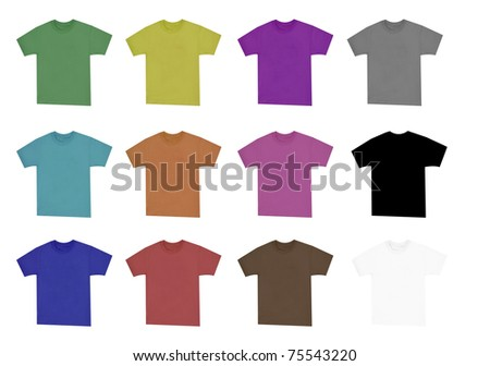 collection of blank shirts with short sleeves in pale colors