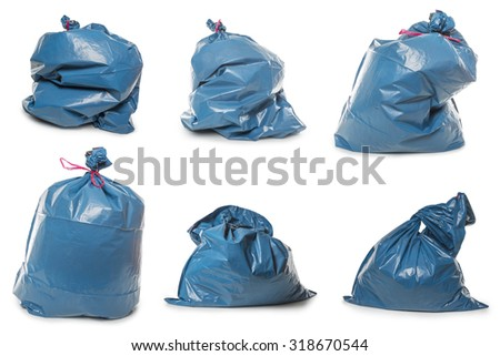 Collection of Blue Rubbish Bags isolated on white background - stock photo