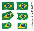 Collection of Brazilian flags, illustration - stock photo
