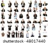 Collection of business people over white background - stock photo