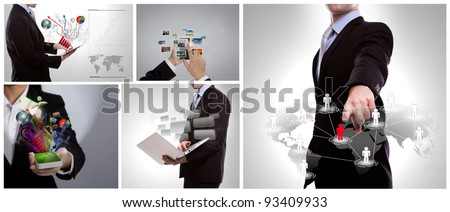Collection of business people use modern technology - stock photo