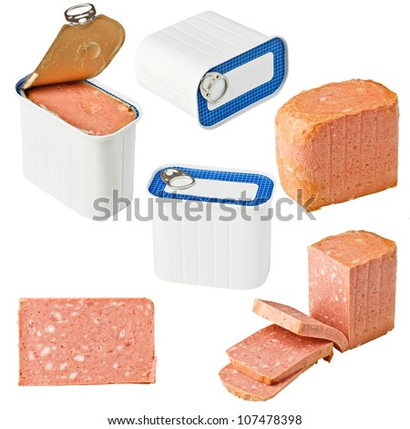 Collection of canned meat isolated on white background - stock photo