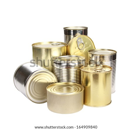 collection of cans isolated on a white background - stock photo