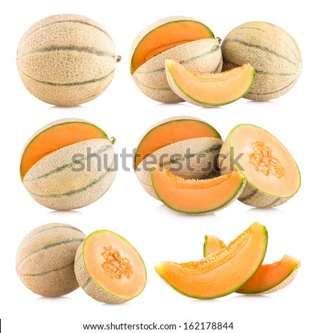collection of 6 cantaloupe melon images - stock photo