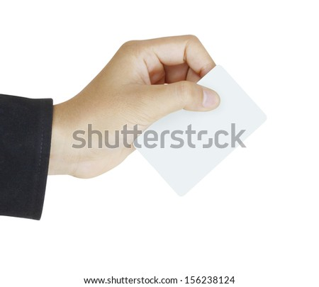 collection of card blanks in a hand businessman - stock photo