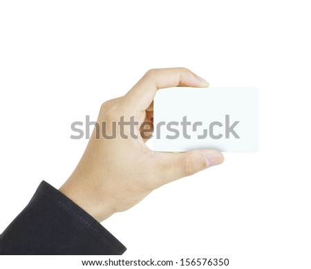 collection of card blanks in a hand businessman